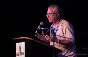 AcousticMusicScene.com's Michael Kornfeld speaks during the 2017 NERFA Conference in Stamford, CT. (Photo: Neale Eckstein)